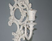 Shabby Chic Distressed White Candle Holder Sconce