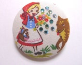 Sales -- Little Red Riding Hood Fabric Button Brooch with Crystals