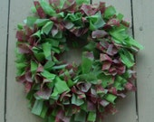 "12"" Rag Wreath - Lily Pulitzer Inspired - Pink and Green"