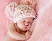 """Newborn Pom Pom Crochet Beanie Hat - Photo Prop - """"The Ava Jane"""""""
