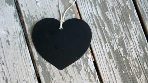 Set of 10 Chalkboard Tags / Labels - Heart Shaped