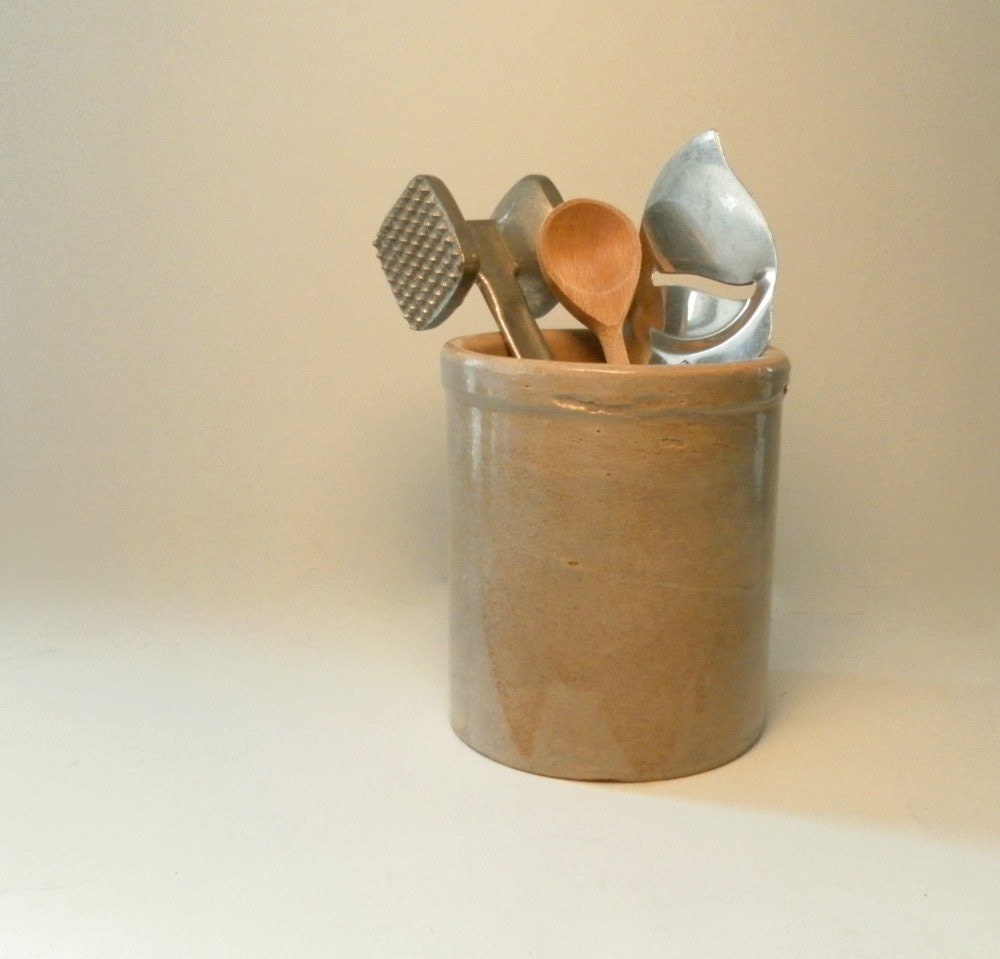 Salt Glazed Stoneware Crock Kitchen Utensil By