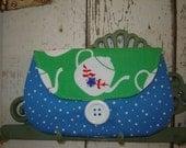 SALE - I'm a Little Teapot Envelope Clutch Purse