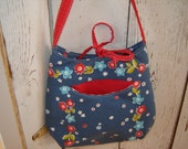 Navy Floral & Red Pindot Cross Body Bag