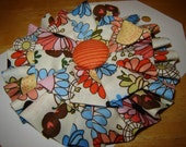 Scribbly Flowers Ruffly Fabric Brooch