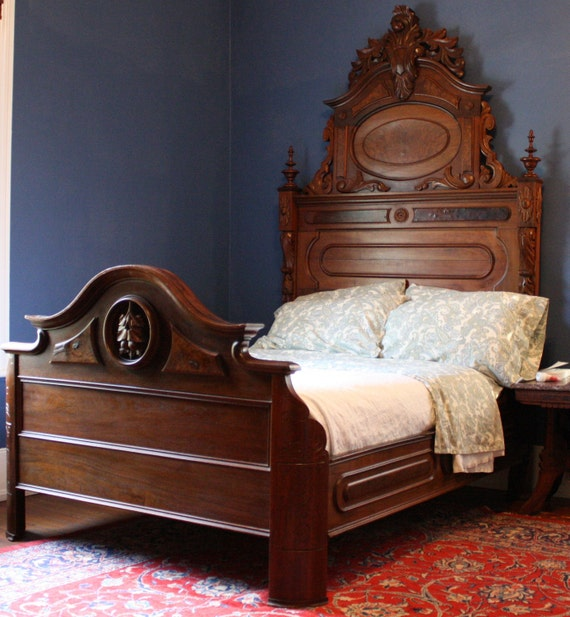 Items similar to reserved stunning antique victorian - Renaissance style bedroom furniture ...