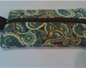 Paisley With Green Hues Quilted  Zipper Pouch