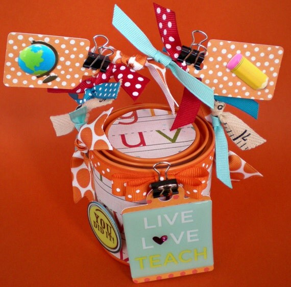 Teacher Gift, Container, Gift Packaging/ Mini Altered Paint Can/ Made to Order/ Classic ABC's
