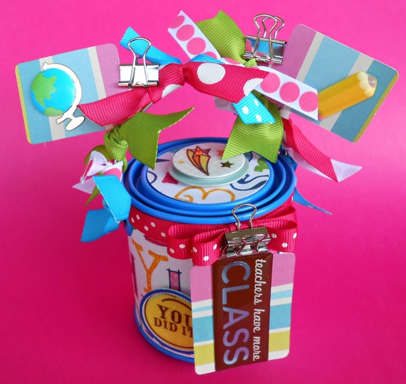 Teacher Gift, Container, Gift Packaging/ Mini Altered Paint, LAST ONE/ Modern ABC's