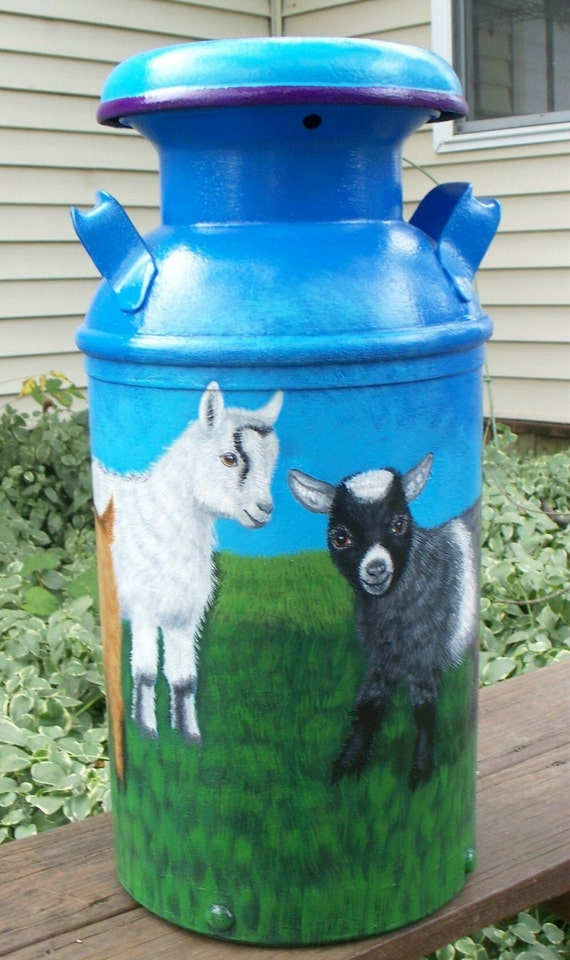"""Sale, Large 22"""" Milk Can, hand painted art, pygmy goats in meadow, shipping included."""