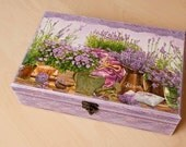 Wooden Tea Box, Mother's day Gift for her, Unique decoupage tea box Lilac & White LAVENDER DREAM