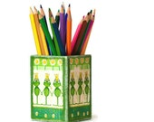 Decoupage Pencil Holder  Desk Accessory green & yellow Kids, tbteam