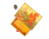 Harvest Time Whimsy Jewelry Chest, Jewelry Box, Woodland Hedgehog & Squirrel, Dorm Decor, Teen age gift ohtteam