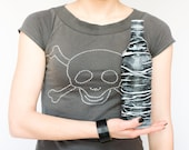 Dudes Gift, Rustic Upcycled Bottle, Hand Painted in Black & White Bacardi bottle, for him steampunk goth, Father's day