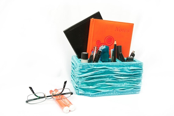 Turquoise Pencil Holder, Blue Desk Accessory, Teacher Gift, Teal Pencil Notebook Holder, Desk Organizer, Home office ohtteam