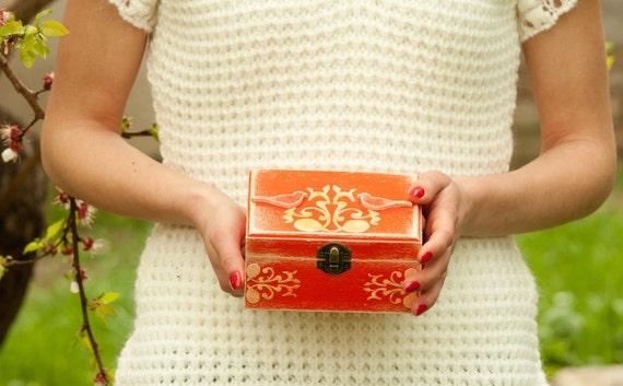 Tangerine Jewelry Box, Orange Decorated Jewellery Box, Wooden Art Trinket Box