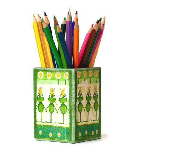 Decoupage Pencil Holder  Desk Accessory green & yellow Kids, tbteam