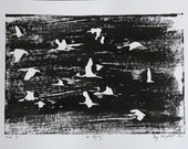 """SALE Free shipping world wide. Black & white lino painting """"ibis flying"""" 2011"""