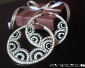 Fabulous Black & White  Seed Beaded Hoop Earrings with Black Swarovski Crystal Gem Beads