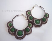 Seed Bead Hoop Earrings Lilac- Brown with Emerald Green Faceted Gem Beads