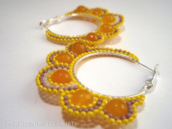 CHEERFUL Yellow Seed Bead Hoop Earrings with Yellow  Faceted South American Topaz Gem Beads