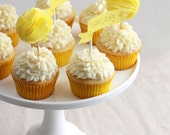 CUSTOM LISTING for CANDY Tissue Pom-Pom Cupcake Toppers (Set of 12 Yellow Toppers)