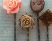 Steampunk Bobby Pin, Accessories For Hair, Cameo Pins, Peach & Brown Rose Cabochons