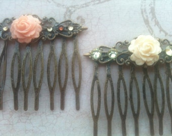 Wedding Combs, Wedding Accessories, Hair Combs, Rose Cabochon Hair, Swarovski Crystal Combs