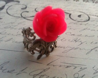 Pink Rose Ring on Silver Adjustable Filigree Setting