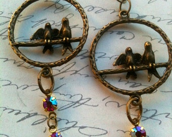 Love Birds Earrings, Vintage Swarovski Earrings, Crystal Earrings, Antique Earrings, Vintage Earrings, Earrings for Women