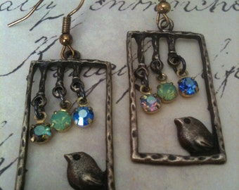 Jewelry Earrings Vintage Love Bird Earrings Authentic Vintage Swarovski Charms Womens gifts