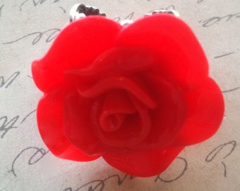 Handmade Woman's Ring Red Rose Cabochon with a High Quality Silver Filigree Setting Adjustable