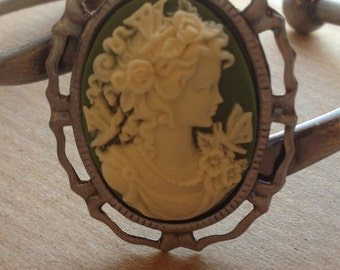 Cameo Bracelet Adjustable Sage Green and Cream Lady Cameo Bangle Cuff