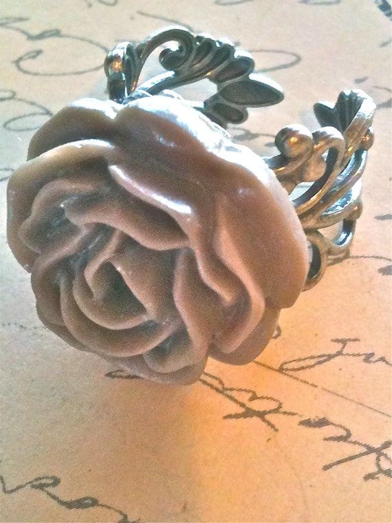 Ring Brown Taupe Rose Silver Adjustable High Quality Womens Ring