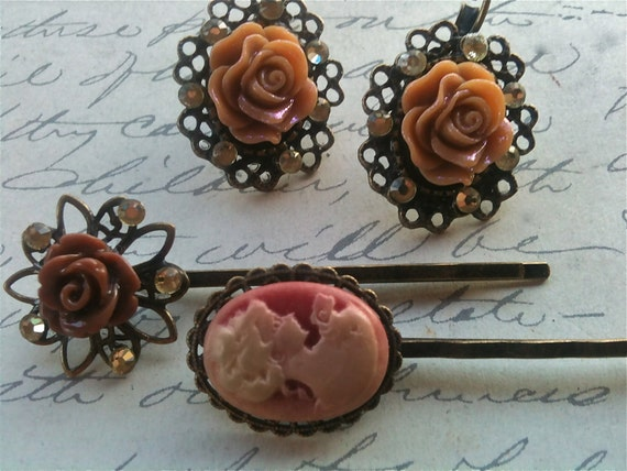 Accessories, Hair Bobby Pins, Earring Set, Rose Earrings, Cameo Bobby Pin