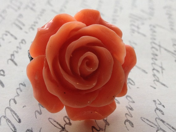Orange Rose Ring Flower Womens Adjustable Ring