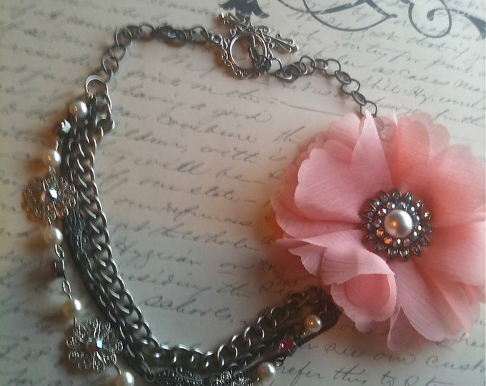 Jewelry Necklace, Fabric Flower Necklace, Vintage Necklace, Victorian Necklace, Steampunk Necklace, Romantic Necklace, Pink Flower Pendant