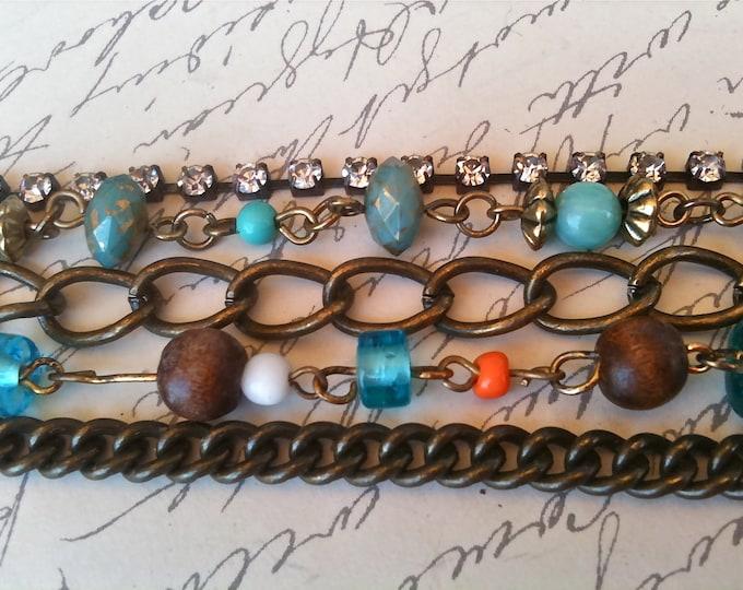 Jewelry Bracelet glass bead gypsy wood metal glass swarovski chain