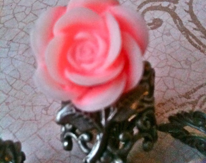 Pink Rose Ring Adjustable Pink Rose Cabochon very high quality womens Adjustable Rings