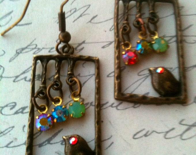 Bird Earrings Vintage Swarovski Crystal Earrings Antique Bronze Metal