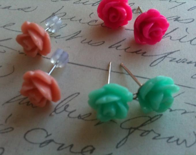 Jewelry Earrings Green Rose Flower Cabochon Tiny Stainless Steel Post Earrings