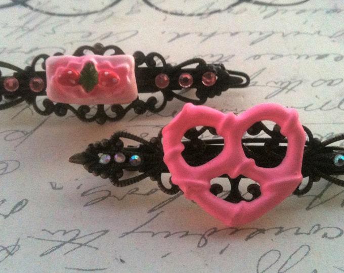 Accessories Hair Jewelry Barettes with Swarovski Crystals Girls kitsch cake and pretzel