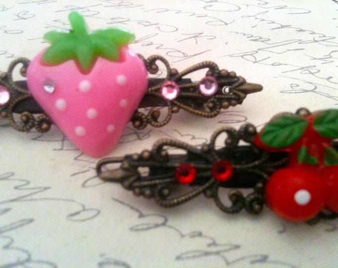 Accessories Cherry Strawberry Hair Barrettes Cabochon