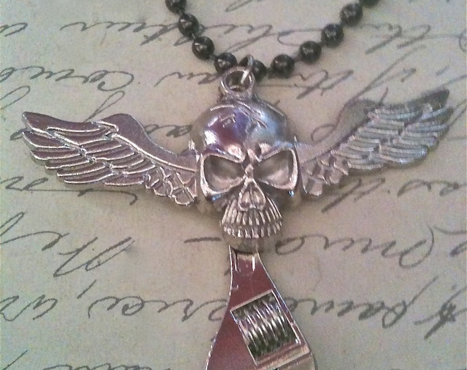 Mens Jewelry, Skull Necklace, Wrench Necklace, Winged Skull, Boys Mens Accessories