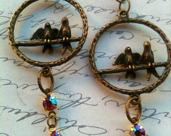 Love Birds Earrings, Vintage Swarovski Earrings, Crystal Earrings, Antique Earrings, Vintage Earrings, Earrings for Women