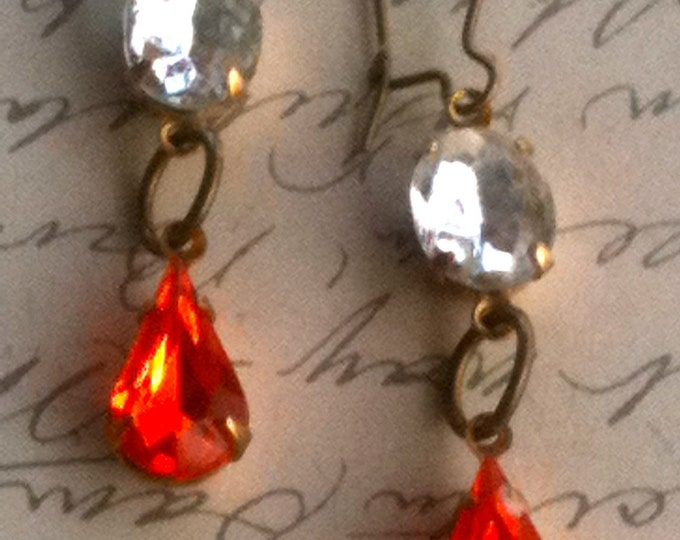 Jewelry Earrings Orange and Crystal Genuine Vintage Swarovski Old Hollywood Glam