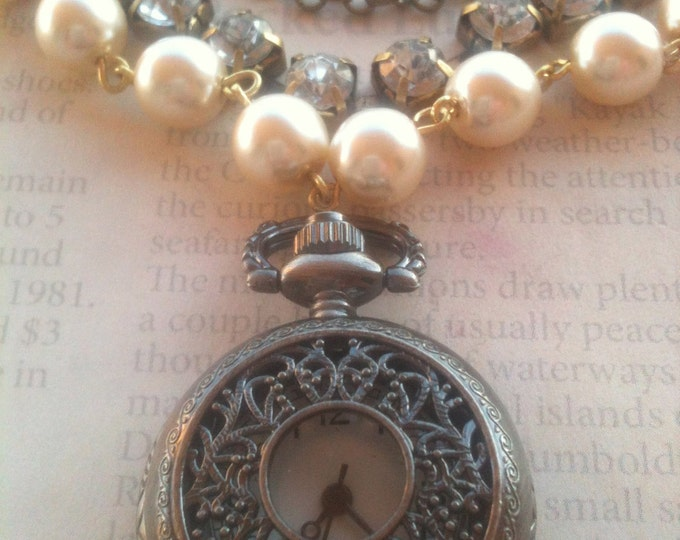 Jewelry Necklace Pocketwatch Steampunk Vintage Victorian Romantic Inspired Pocketwatch Necklace for Women