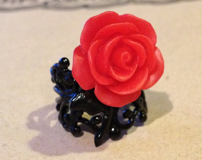 Adjustable Red Rose Cabochon with a High Quality Black Filigree Setting