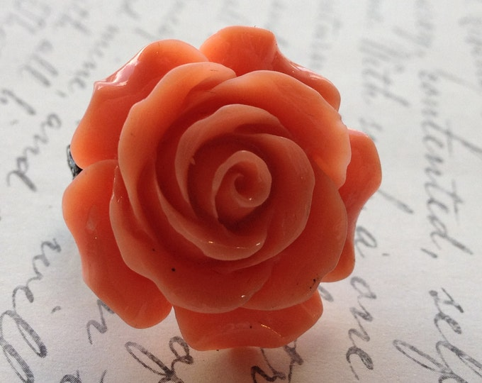 Orange Rose Ring Flower Womens Adjustable Ring
