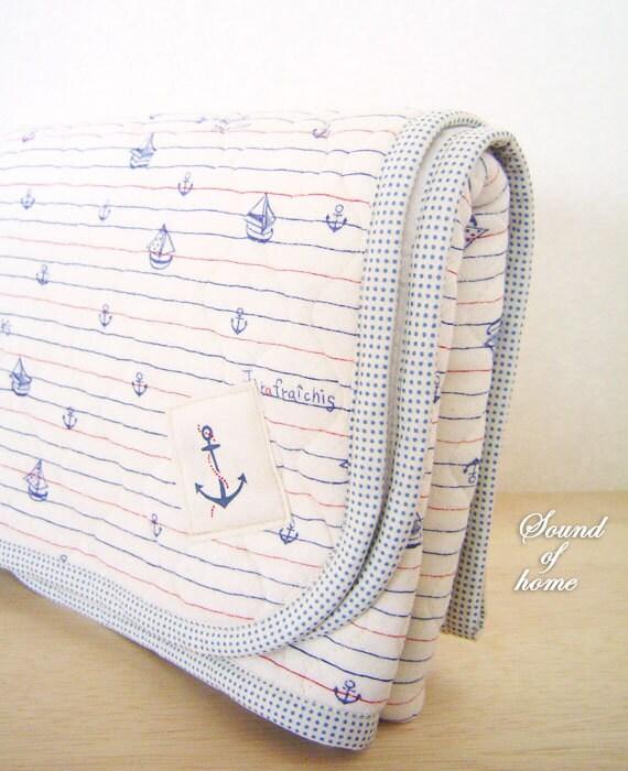 Nautical anchor blue high quality baby shower knit blanket mat gift idea Japan zakka